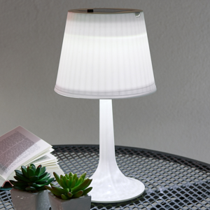 Globo Biela solárna stolná lampa Jesse s diódami LED