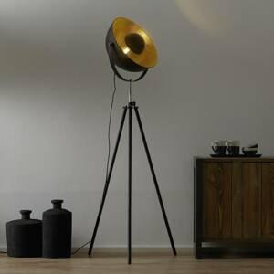 Globo Trojnohá stojaca lampa Lenn, čierno-zlatá