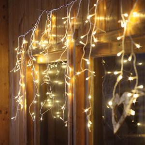 Hellum Svetelný LED záves ľad - farba svetla teplá biela