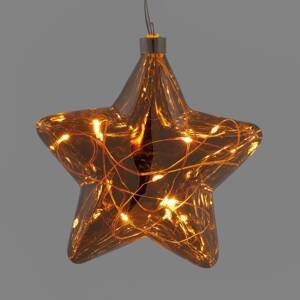 Hellum Sklenená LED hviezda perly svetelná reťaz batéria
