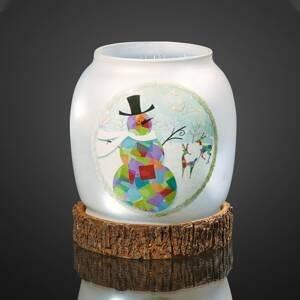 Hellum Sklenená LED váza Snehuliak, batériou napájaná