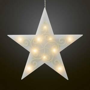 Hellum Deko LED hviezda 5-cípa biela svetelná reťaz dnu