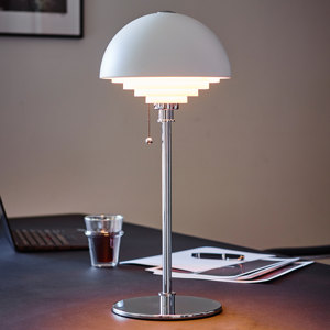 Herstal Biela stolná lampa Motown s rastrom