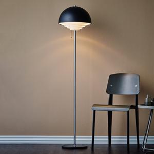 Herstal Kovová stojaca lampa Motown v čiernom prevedení