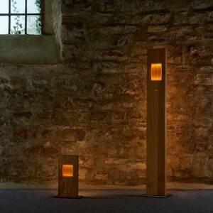 HerzBlut HerzBlut Pan stojaca LED lampa dub, stmievateľná