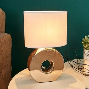 FISCHER & HONSEL Stolná lampa Eye zlatý keramický podstavec 38 cm