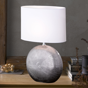 FISCHER & HONSEL Stolná lampa Foro striebro s bielym tienidlom 53cm