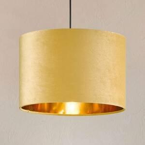 FISCHER & HONSEL Závesná lampa Aura zamatové tienidlo Ø 30cm žltá