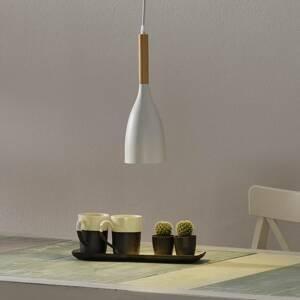 Ideallux Závesná lampa Manhattan drevený detail, biela