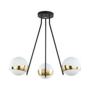 JUPITER Závesná lampa Parcel, 3-plameňová, biela/mosadz