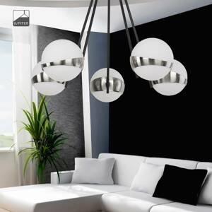 JUPITER Závesná lampa Parcel, 5-plameňová, biela/striebro