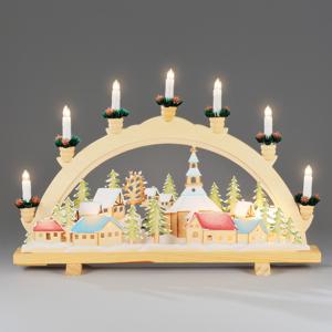 Konstmide CHRISTMAS Adventný svetelný oblúk Vianočná dedinka 57 cm