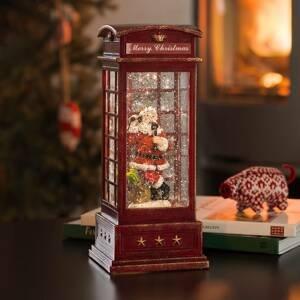 Konstmide CHRISTMAS Dekoračná LED lampa Telefónna búdka s Mikulášom