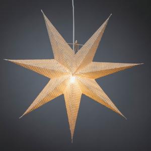 Konstmide CHRISTMAS Hviezda z bieleho papiera, dierkované, 7–cípa