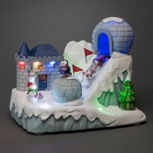 Konstmide CHRISTMAS LED ozdobný lyžiarsky svah s hudbou