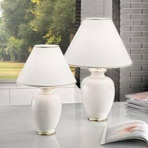 AUSTROLUX BY KOLARZ Stolná lampa Giardino Avorio bielo-zlatá, Ø 30cm