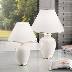 AUSTROLUX BY KOLARZ Stolná lampa Giardino Avorio bielo-zlatá, Ø 40cm