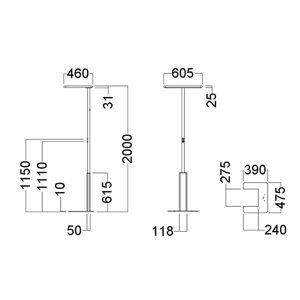 GLamOX Stojaca LED lampa LINEA-F, stmievateľná, CCT, sivá