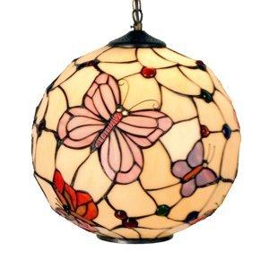 Clayre & Eef Závesná lampa Rosy Butterfly v štýle Tiffany