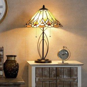 Clayre & Eef Stolná lampa 5186 s jantárovým skleneným tienidlom