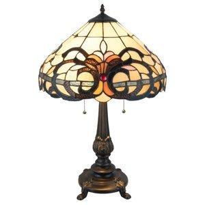 Clayre & Eef Stolná lampa 5924 sklenené tienidlo štýl Tiffany