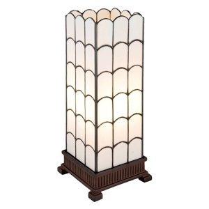 Clayre & Eef Stolná lampa 5930 v bielej, Tiffany design, 45cm