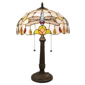 Clayre & Eef Stolná lampa 5945 v Tiffany vzhľade s vážkami
