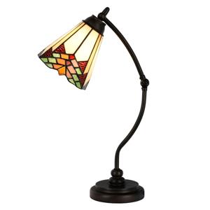 Clayre & Eef Stolná lampa 5964 so zakrivenou tyčou štýl Tiffany