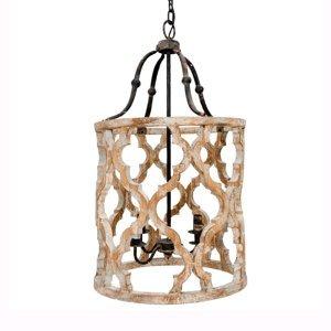 Clayre & Eef Závesná lampa 194 z dreva, 4-plameňová