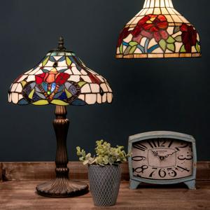 Clayre & Eef Závesná lampa 5960 s farebným sklom štýl Tiffany