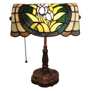 Clayre & Eef Stolná lampa 6013 kvetinový dekór vzhľad Tiffany