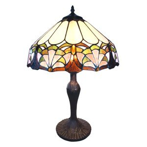 Clayre & Eef Stolná lampa 6021 mnohofarebné tienidlo Tiffany