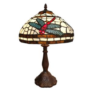 Clayre & Eef Stolná lampa 6023 farebné sklo motív vážky