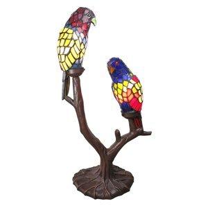 Clayre & Eef Dekoračná lampa 6017, dve papagáje, Tiffany design