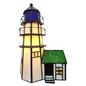 Clayre & Eef Dekoračná lampa 6007 maják s prístavbou Tiffany