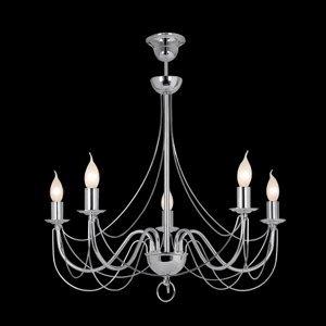 Lis Poland Visiaci luster Retro, päť-plameňový, 75cm, chróm