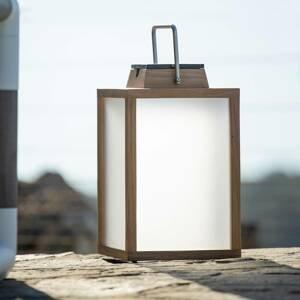 LES JARDINS Solárna LED lucerna Tradition teakové drevo 40cm