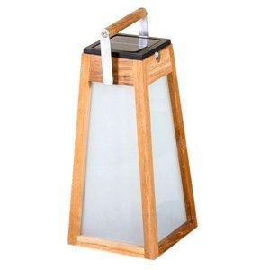 LES JARDINS Solárna LED lucerna Tecka, snímač, teak, 38,8cm