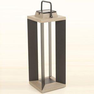 LES JARDINS Solárna lucerna Teckalu Duratek/alu čierna 65,5cm