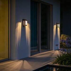 LES JARDINS Solárne nástenné LED Corner so snímačom, sivé