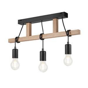 EULUNA Závesná lampa Tyske z dreva, 3-plameňová, čierna