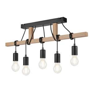 EULUNA Závesná lampa Tyske z dreva, 5-plameňová, čierna