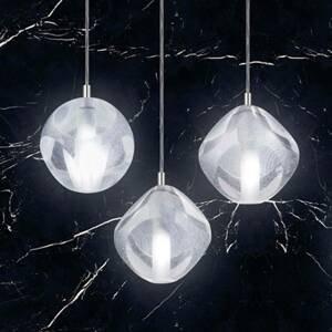 Marchetti Závesná lampa Glace zo skla, 3-plameňová