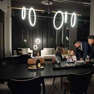Marchetti Závesné LED svietidlo Ulaop, päť kruhov, čierne