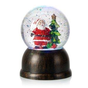 Markslöjd Snehová LED guľa Max s Mikulášom, bronz