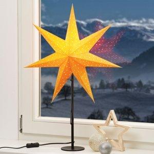Markslöjd Stojaca hviezda Clara žltá podstavec čierny
