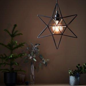 Markslöjd Dekoračná hviezda Contour ako závesná lampa čierna