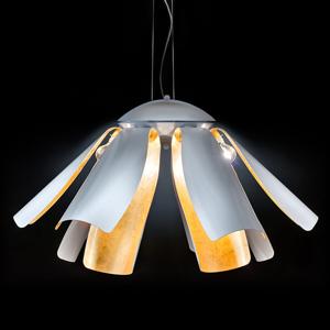 Mettallux Závesná lampa Tropic s lístkovým zlatom 100cm