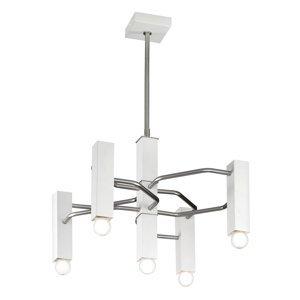 Mettallux Závesná lampa Raster 5-pl. matný nikel/biela