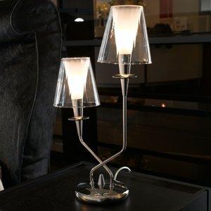 Mettallux Stolná lampa Opera dvoj-plameňová číre tienidlá